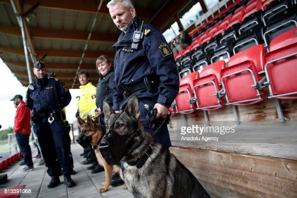 Swedish police takes security measures during the training session of Galatasaray ahead of the UEFA Europa League 2nd Qualifying Round soccer match...