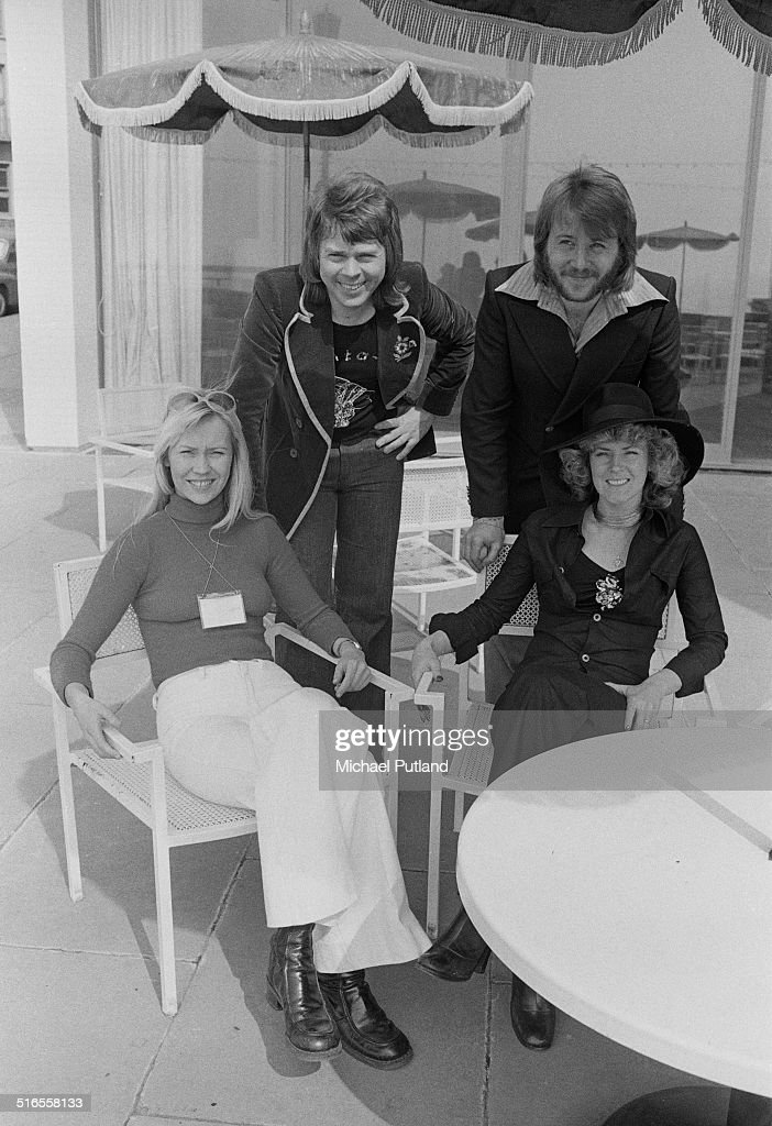 Swedish pop group ABBA in Brighton, East Sussex, for the Eurovision Song Contest, April 1974. The group won the contest with their song 'Waterloo'. Clockwise, from left: Agnetha Fältskog, Björn Ulvaeus, Benny Andersson and Anni-Frid Lyngstad.