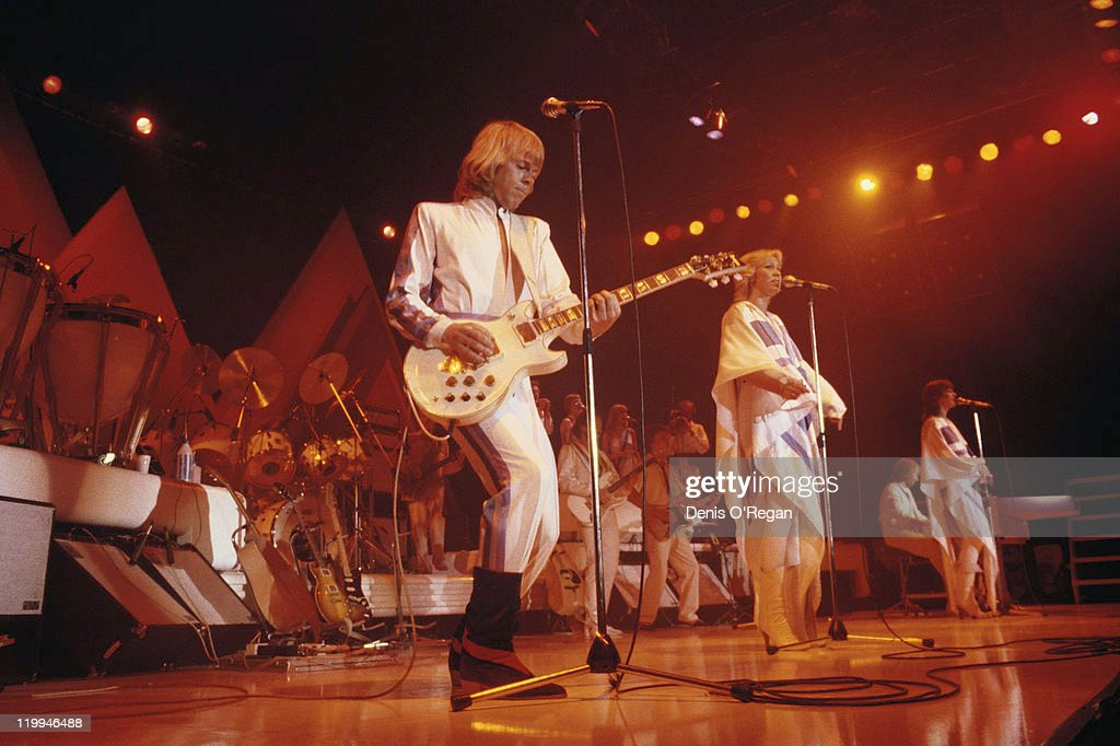 Swedish pop group Abba on their third, and final, tour, 1979. From centre, left to right: Bjorn Ulvaeus, Agnetha Faltskog, Benny Andersson (at piano) and Anni-Frid Lyngstad.