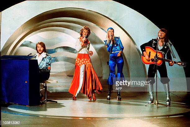 Swedish pop group Abba performs during the the Eurovision Song Contest 1974 on February 09 1974 in Brighton with their song Waterloo Abba won the...