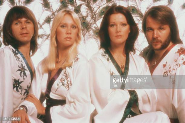 Swedish pop group Abba wearing kimonos 1976 Left to right Bjorn Ulvaeus Agnetha Faltskog Frida Lyngstad and Benny Andersson