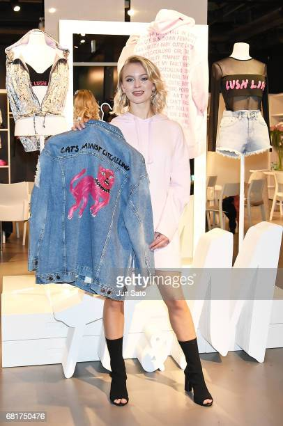 Swedish pop singer Zara Larsson attends the press call during the 'Zara Larsson x HM' Music Night Live at the HM Shibuya Store on May 11 2017 in...