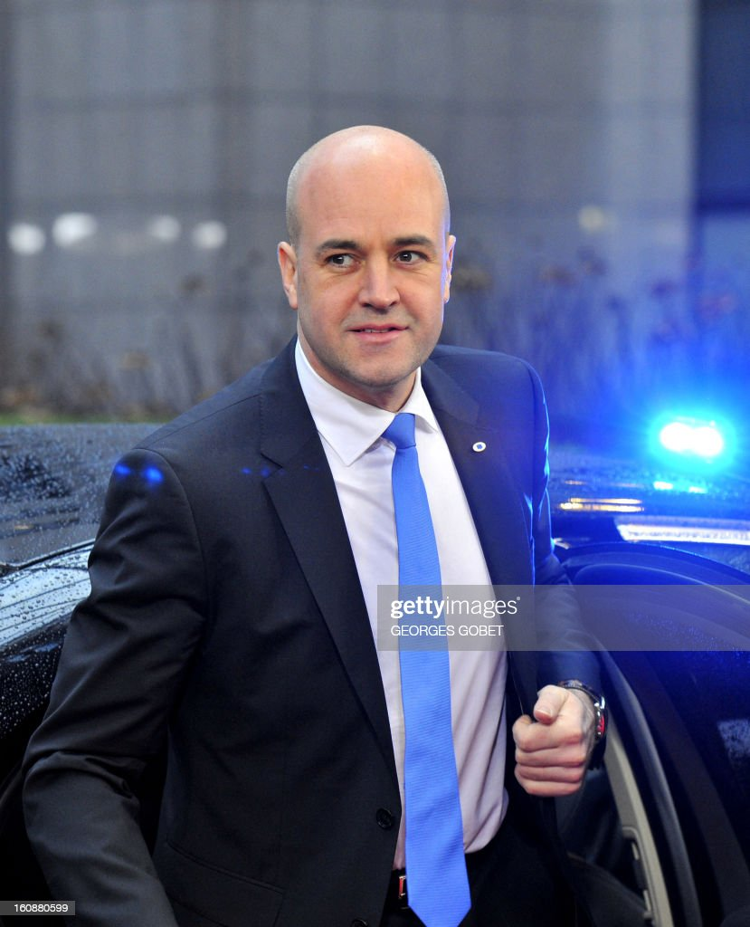 Swedish Prime Minister Fredrik Reinfeldt arrives at the EU Headquarters on February 7, 2013 in Brussels, on the first day of a two-day European Union leaders summit. European Union leaders head into a fresh clash over the EU's budget with the only certainty being that proposals for several years will be cut back.