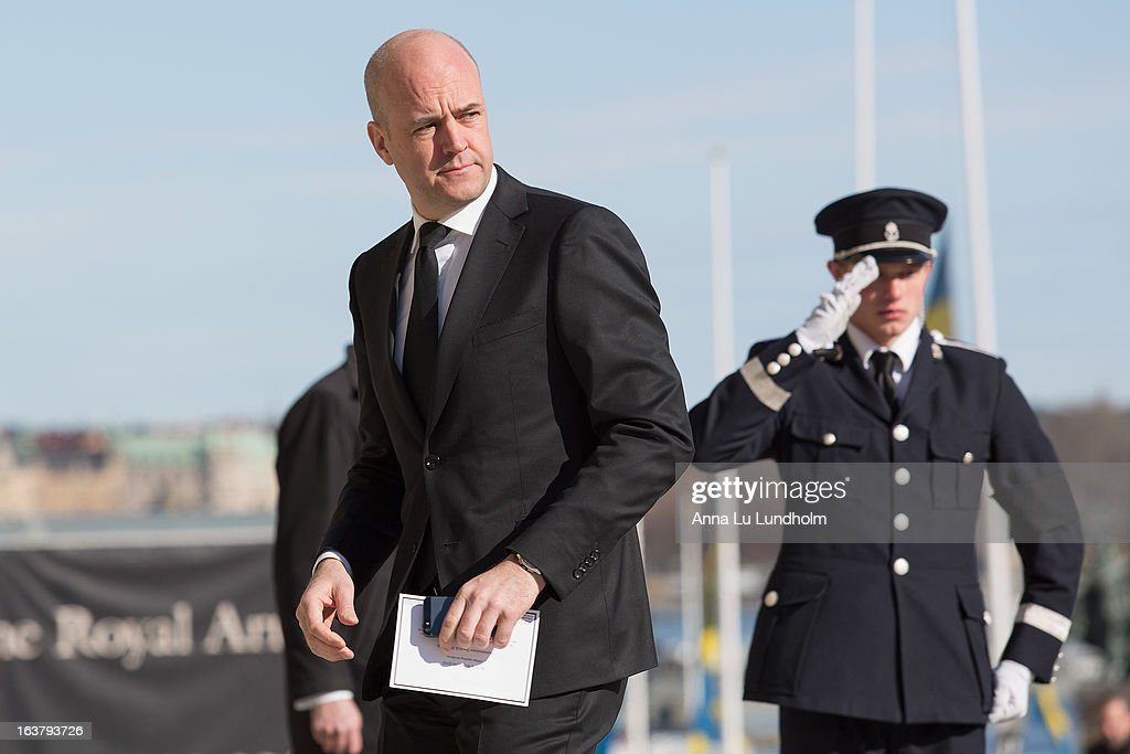 Swedish Prime Minister <a gi-track='captionPersonalityLinkClicked' href=/galleries/search?phrase=Fredrik+Reinfeldt&family=editorial&specificpeople=861728 ng-click='$event.stopPropagation()'>Fredrik Reinfeldt</a> attends at the funeral of Princess Lilian Of Sweden on March 16, 2013 in Stockholm, Sweden.