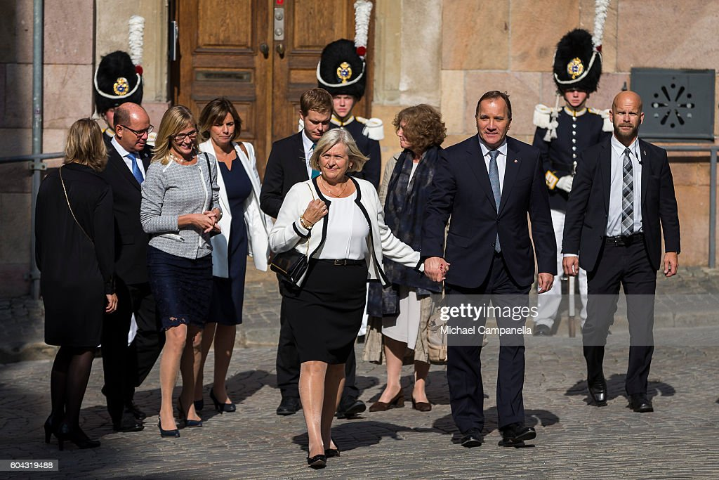 Swedish Prime Minister Stefan Loffven and wife Ulla attend a ceremony at Storkyrkan in connection with the opening session of the Swedish parliament on September 13, 2016 in Stockholm, Sweden.