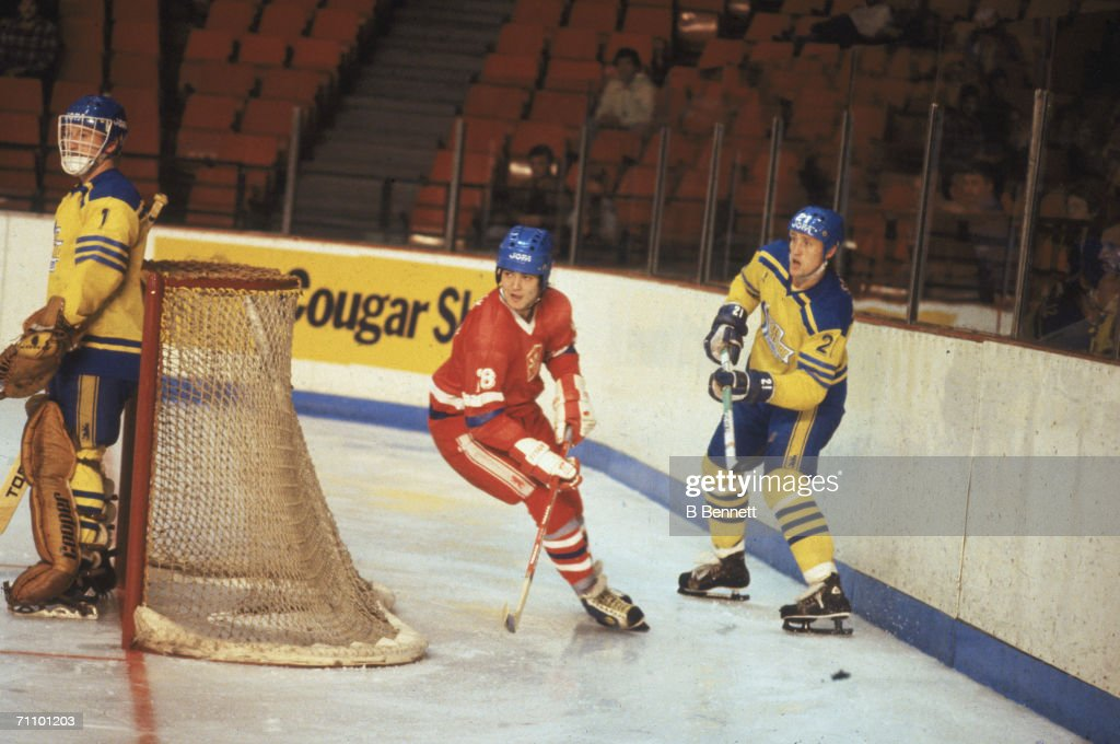 Swedish professional hockey player Borje Salming defenseman for the Toronto Maple Leafs and playing for Team Sweden stands guard behind the goal post...
