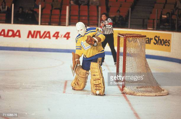 Swedish professional hockey player Pelle Lindbergh goaltender for Team Sweden guards the net at the 1981 Canada Cup Canada September 1981