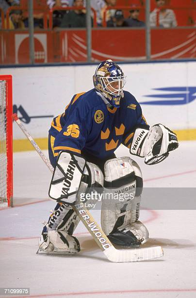 Swedish professional hockey player Tommy Salo goalie for the New York Islanders and playing for Team Sweden defends the goal during a game of the...