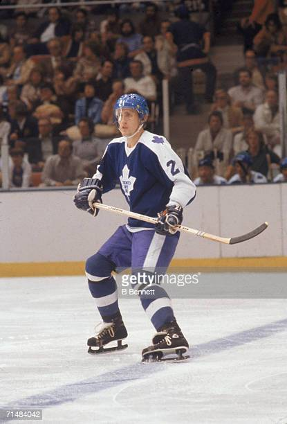 Swedish professional ice hockey player Borje Salming of the Toronto Maple Leafs skates on the ice during a road game October 1978 Salming played for...