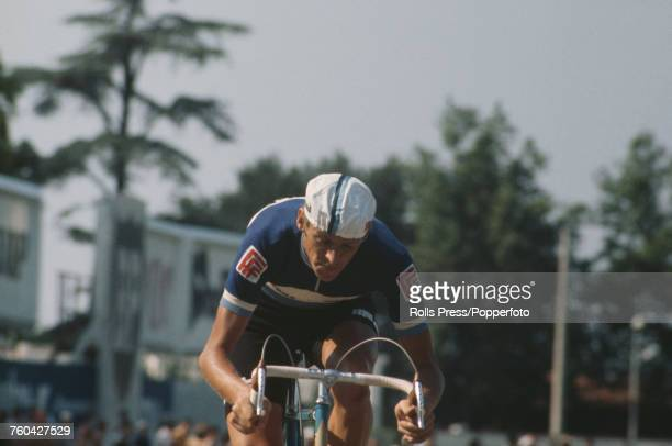 Swedish professional road race cyclist Gosta Pettersson pictured competing in an individual time trial stage for the Ferretti team during the 1971...