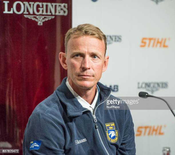 Swedish rider and 2016 Olympic silver medalist Peder Fredricson on HampM All In answers questions of the press after winning the qualifying...