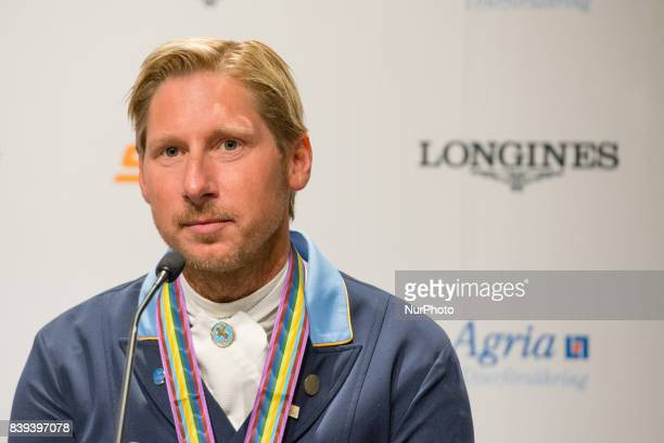 Swedish rider Patrik Kittel meets the press after winning the bronze medal in the team dressage competition of the 2017 FEI European Championships in...