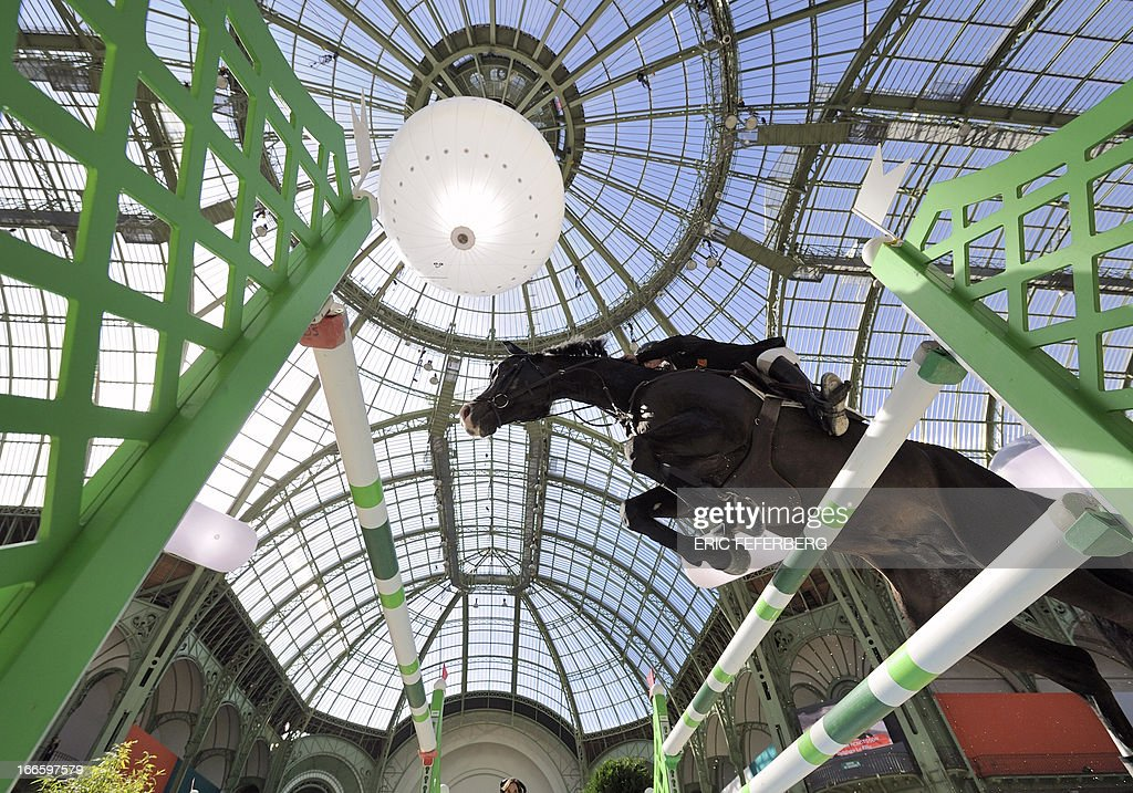 Swedish rider Rolf-Goran Bengtsson clears an obstacle on April 14, 2013 to win the third place of the jumping event of the Grand Prix Hermes of Paris at the Grand Palais in Paris.
