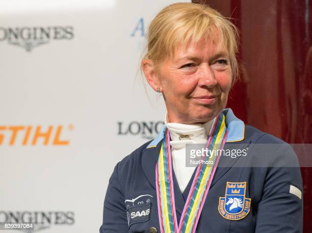 Swedish rider Rose Mathiesen meets the press after winning the bronze medal in the team dressage competition of the 2017 FEI European Championships...