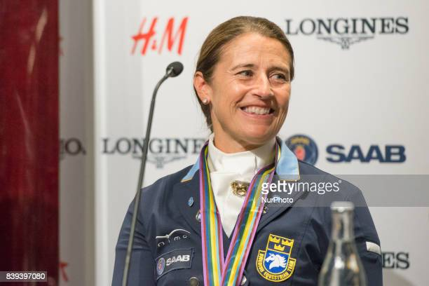 Swedish rider Tinne Vilhelmson Silfven meets the press after winning the bronze medal in the team dressage competition of the 2017 FEI European...