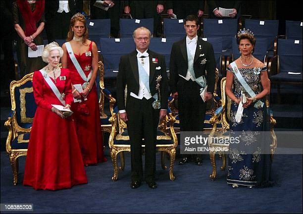 Swedish royal family King Carl Gustav Queen Silvia Princess Madeleine Prince Karl Philip and Princess Lilian in Stockholm Sweden on December 10 2002