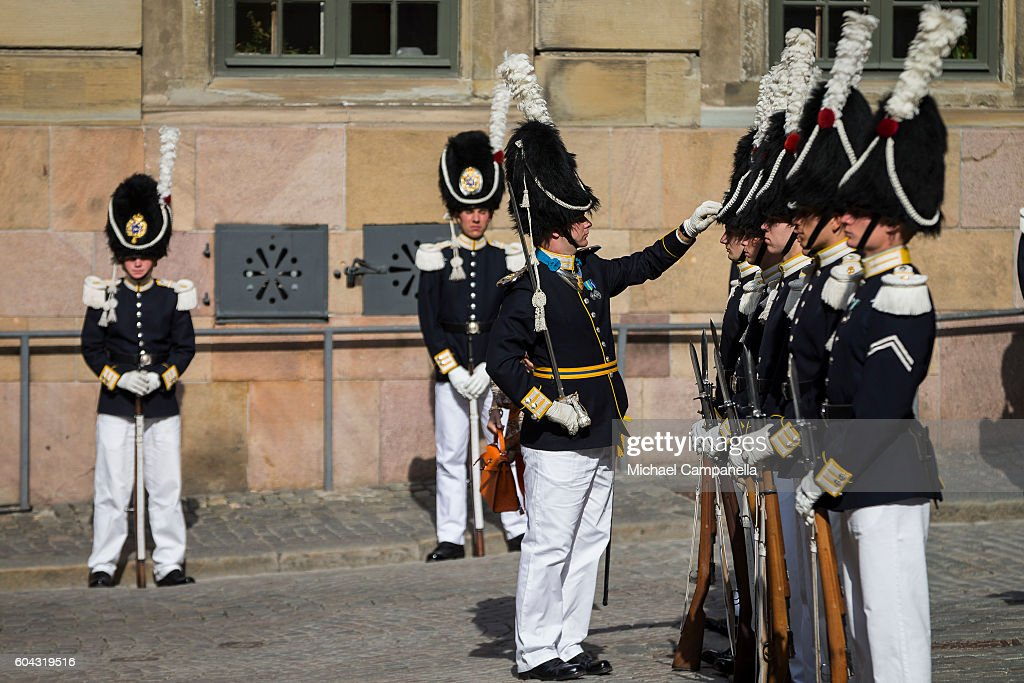 Swedish royal guards prepare for the arrival of the kind at a ceremony at Storkyrkan in connection with the opening session of the Swedish parliament on September 13, 2016 in Stockholm, Sweden.