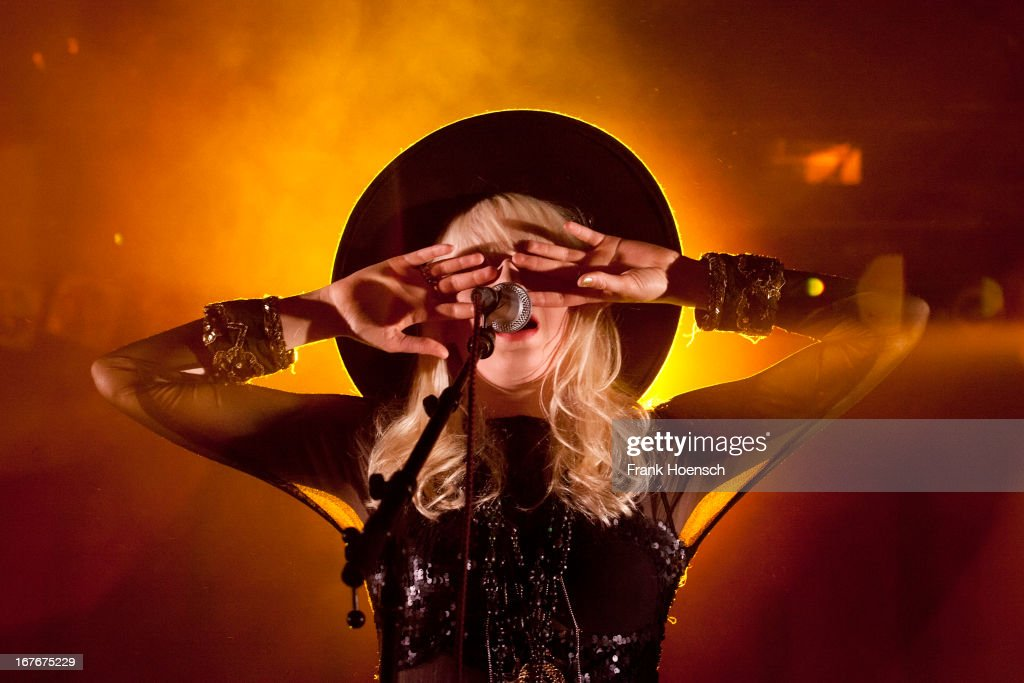 Swedish singer Amanda Jenssen performs live in support of Johnossi during a concert at the Huxleys on April 27, 2013 in Berlin, Germany.