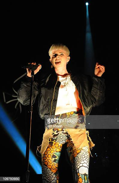 Swedish singer Robyn performs live on stage at the Camden Roundhouse on March 3 2011 in London England