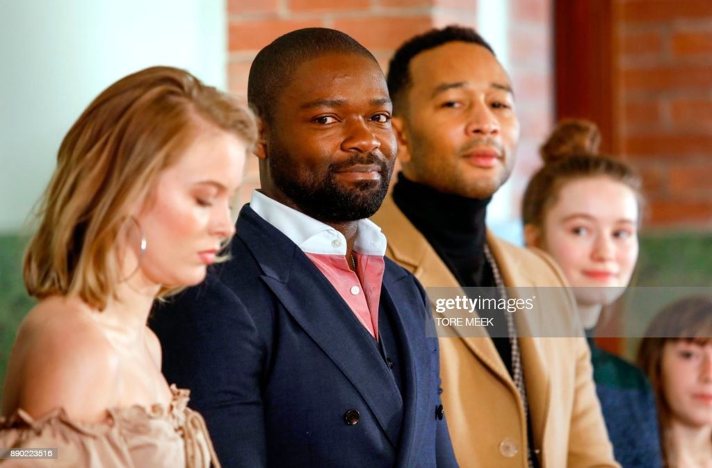Swedish singer Zara Larsson, host David Oyelowo and US singer John Legend give a press conference at the Norwegian Nobel Institute in Oslo, Norway, December 11, 2017, before performing the Nobel Peace Prize Concert later.
