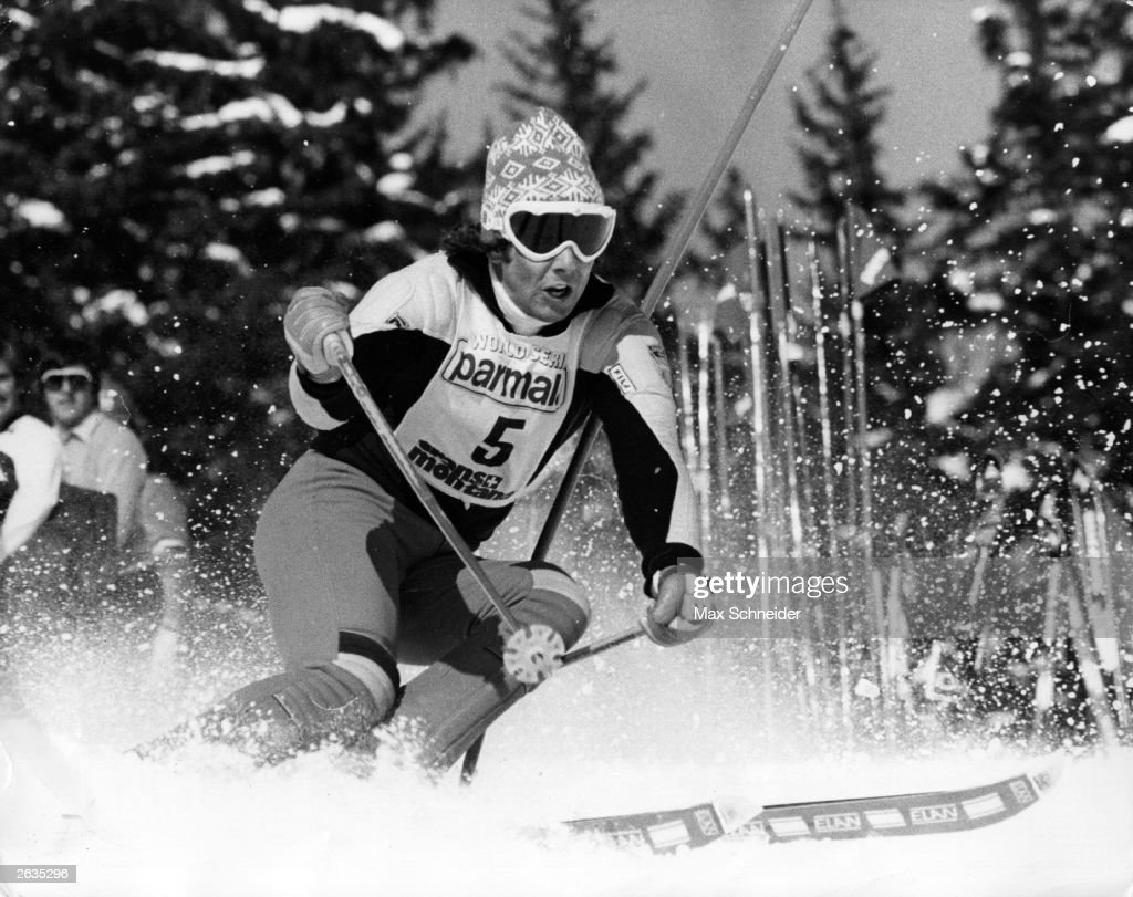 Swedish skiing champion Ingemar Stenmark hurtles towards victory in the 'Special Slalom', during the skiing World Series at Crans Montana, Switzerland.