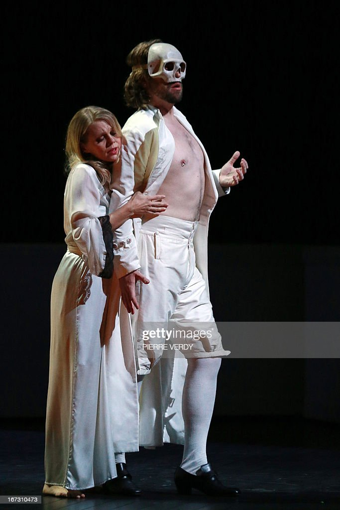 Swedish soprano Miah Persson and Austrian barytone Markus Werba perform during the 'generale' of the Mozart's 'Don Giovanni' Opera directed by Stephane Braunschweig with musical director Jeremie Rhorer at the Theatre des Champs-Elysees in Paris on April 23, 2013.