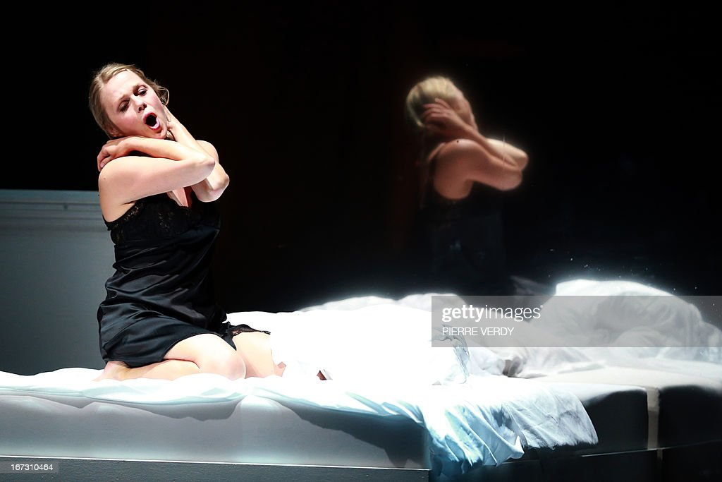 Swedish soprano Miah Persson performs during the 'generale' of the Mozart's 'Don Giovanni' Opera directed by Stephane Braunschweig with musical director Jeremie Rhorer at the Theatre des Champs-Elysees in Paris on April 23, 2013. AFP PHOTO PIERRE VERDY