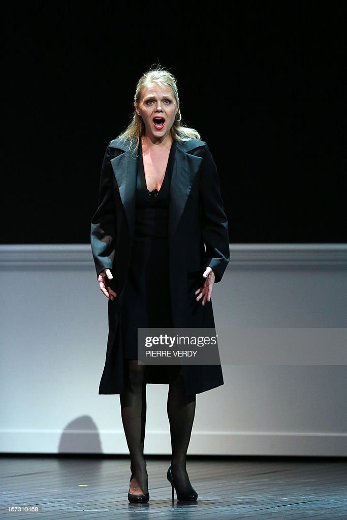 Swedish soprano Miah Persson performs during the 'generale' of the Mozart's 'Don Giovanni' Opera directed by Stephane Braunschweig with musical director Jeremie Rhorer at the Theatre des Champs-Elysees in Paris on April 23, 2013.