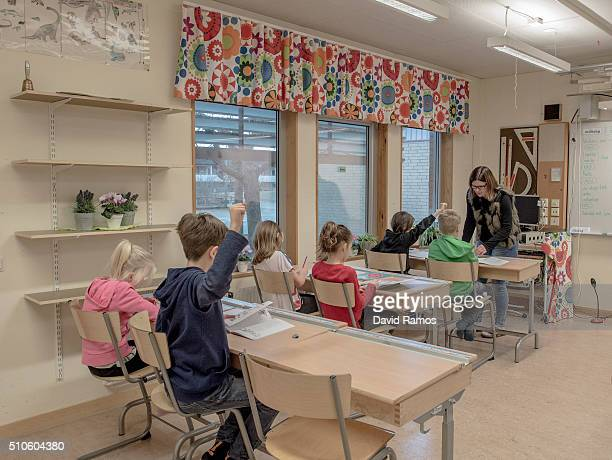 Swedish students are seen in a classroom of a school on February 8 2016 in Halmstad Sweden Last year Sweden received 162877 asylum applications more...