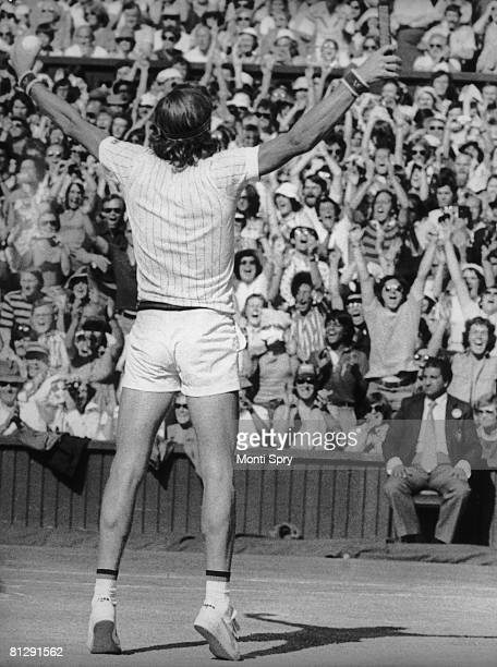 Swedish tennis player and Bjorn Borg celebrates his win over Jimmy Connors in the Men's Singles final at Wimbledon 2nd July 1977 Borg won 36 62 61 57...