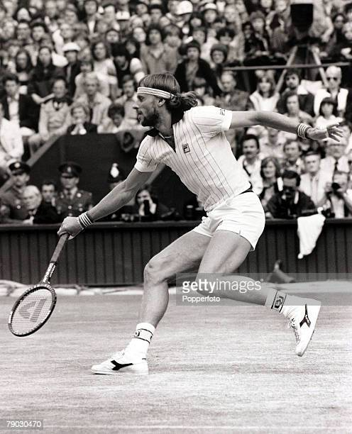 Sport/Tennis All England Lawn Tennis Championships Wimbledon London England 4th July 1981 Mens Singles Final Sweden's Bjorn Borg in action in his...