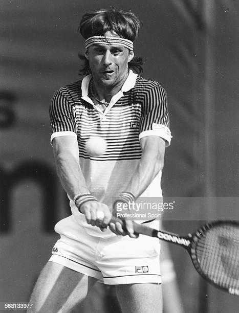Swedish tennis player Bjorn Borg in action during a tennis tournament in Monte Carlo Monaco circa 1982
