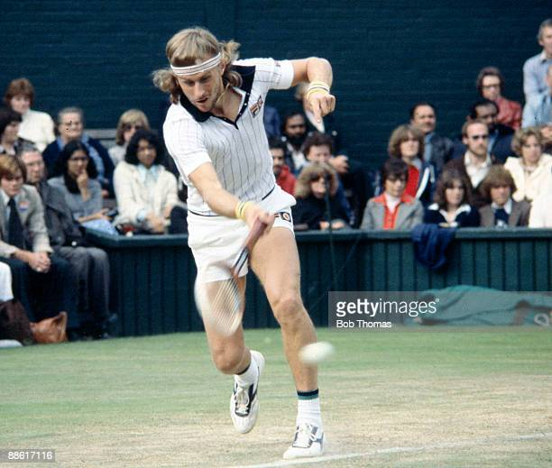 Bjorn Borg of Sweden during the Wimbledon Lawn Tennis Championships held at the All England Club in London England circa 1980