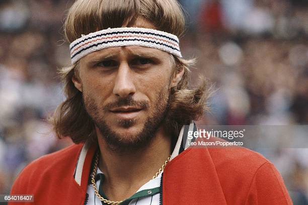 Swedish tennis player Bjorn Borg pictured during competition to reach the final of the Men's Singles tournament before losing to John McEnroe 46 76...