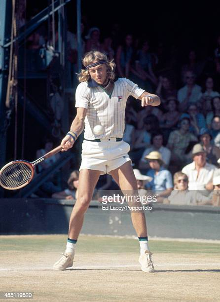 Bjorn Borg of Sweden in action at Wimbledon circa June 1976 Borg seeded fourth won the Men's Singles Final