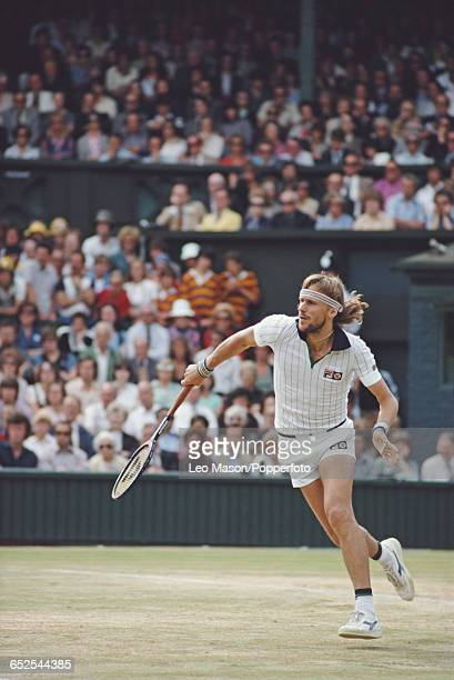 Swedish tennis player Bjorn Borg pictured in action competing to reach and win the final of the Men's Singles tournament against John McEnroe 16 75...