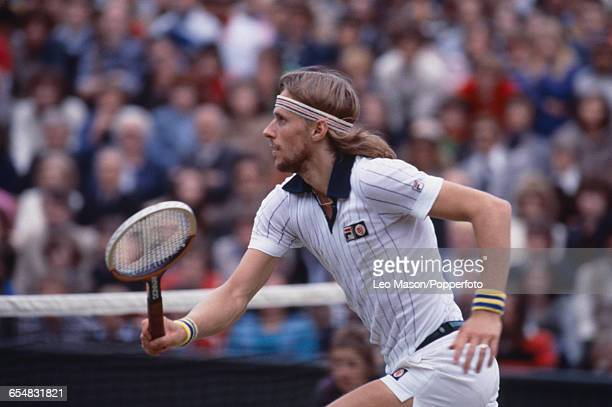 Swedish tennis player Bjorn Borg pictured in action competing to reach and win the final of the Men's Singles tournament against Jimmy Connors 62 62...