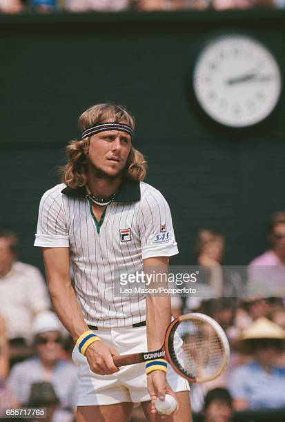Swedish tennis player Bjorn Borg pictured in action competing to reach and win the final of the Men's Singles tournament against Jimmy Connors 36 62...