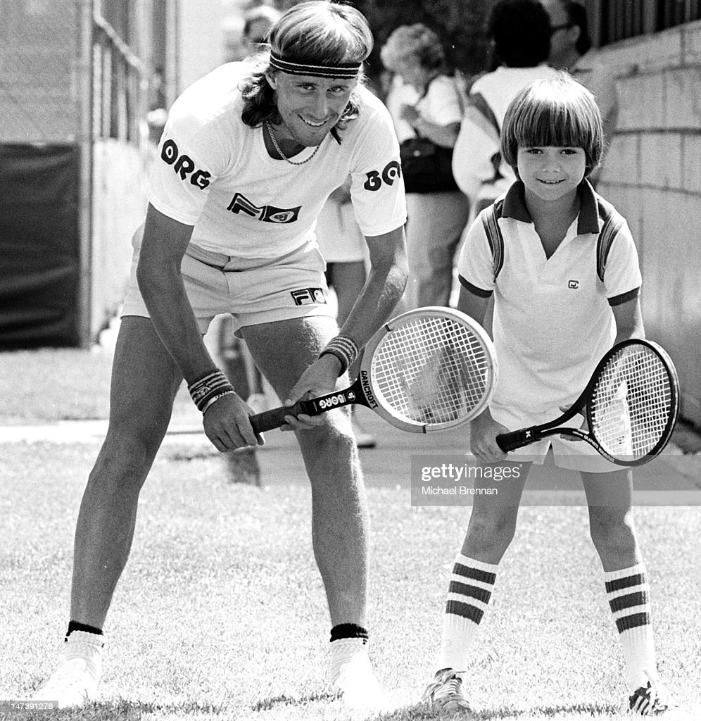 Swedish tennis player <a gi-track='captionPersonalityLinkClicked' href=/galleries/search?phrase=Bjorn+Borg+-+Tennis+Player&family=editorial&specificpeople=13488705 ng-click='$event.stopPropagation()'>Bjorn Borg</a> with eight year-old future champion <a gi-track='captionPersonalityLinkClicked' href=/galleries/search?phrase=Andre+Agassi&family=editorial&specificpeople=157607 ng-click='$event.stopPropagation()'>Andre Agassi</a>, Las Vegas, Nevada, 1978.