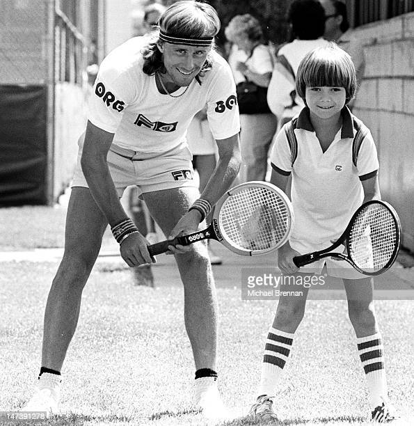 Swedish tennis player Bjorn Borg with eight yearold future champion Andre Agassi Las Vegas Nevada 1978