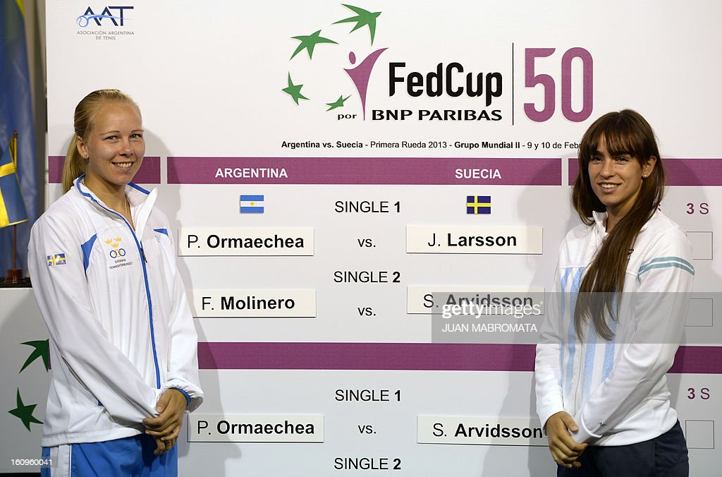 Swedish tennis player Johanna Larsson (L) and Argentina's Paula Ormaechea pose after the draw of their 2013 Fed Cup World Group II first round to be held this weekend in Buenos Aires, at Parque Roca stadium in the Argentine capital, on February 8, 2012. AFP PHOTO / Juan Mabromata