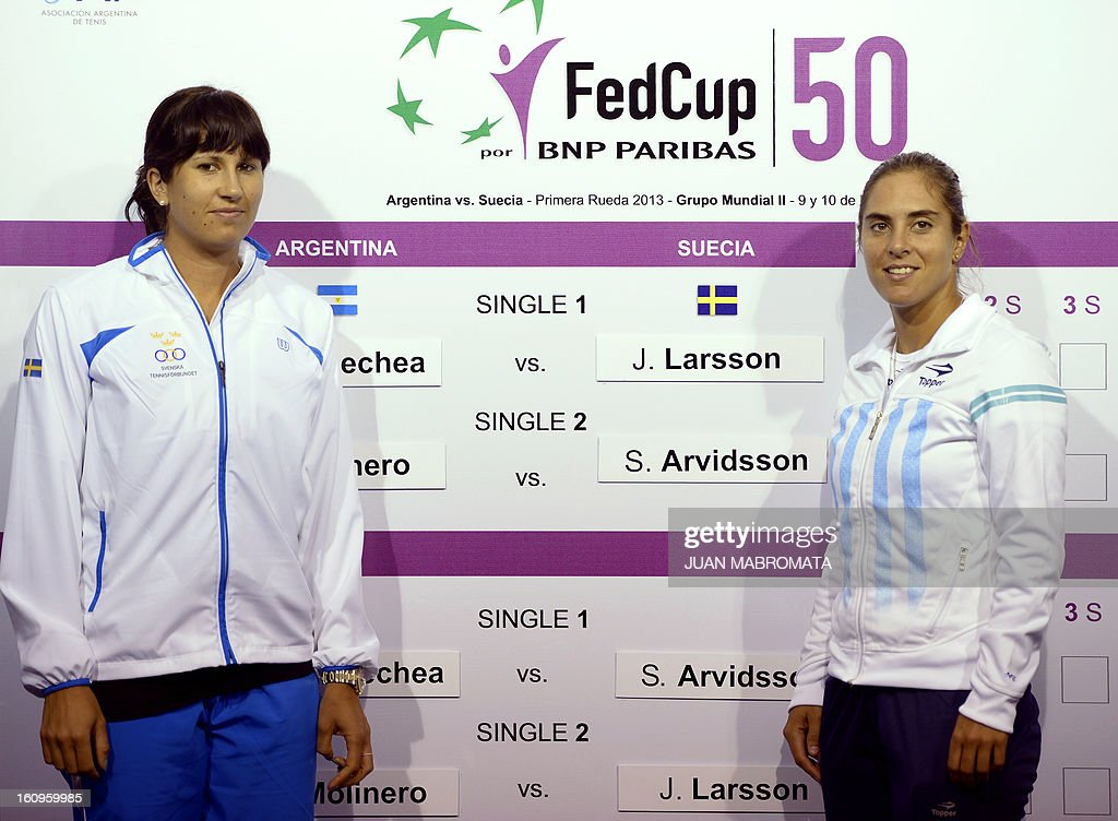 Swedish tennis player Sofia Arvidsson (L) and Argentina's Florencia Molinero pose after the draw of their 2013 Fed Cup World Group II first round to be held this weekend in Buenos Aires, at Parque Roca stadium in the Argentine capital, on February 8, 2012. AFP PHOTO / Juan Mabromata