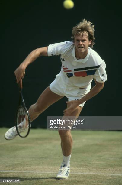 Swedish tennis player Stefan Edberg pictured in action against Miloslav Mecir in the third round of the Men's Singles tournament at the 1986...