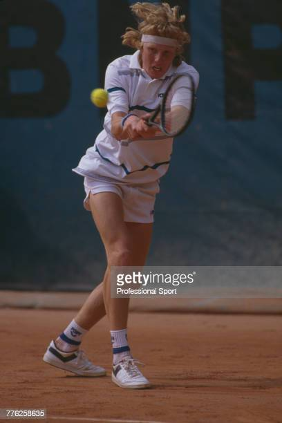 Swedish tennis player Ulf Stenlund pictured in action during competition to reach the fourth round of the Men's Singles tournament at the 1986 French...