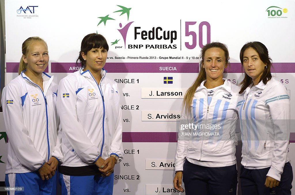 Swedish tennis players Johanna Larsson (L) and Sofia Arvidsson (2-L) pose next to Argentina's Maria Irigoyen (2-R) and Mailen Auroux pose after the draw of their 2013 Fed Cup World Group II first round to be held this weekend in Buenos Aires, at Parque Roca stadium in the Argentine capital, on February 8, 2012. AFP PHOTO / Juan Mabromata