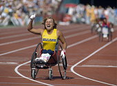 Swedish wheelchair athlete Monica Saker finishes first to win gold in the women's 800 metres 4 event at the 1984 Summer Paralympics at the Mitchel...