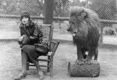 Swedishborn actress Greta Garbo sits in a chair next to Leo the lion mascot for MGM studios