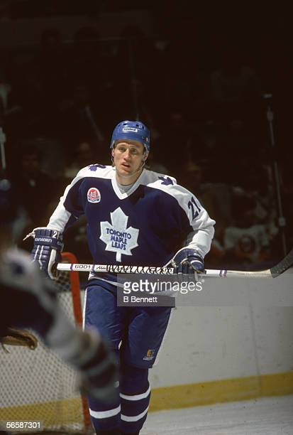Swedishborn professional hockey player Borje Salming defenseman for the Toronto Maple Leafs skates near the goal post during a game late 1970s or...