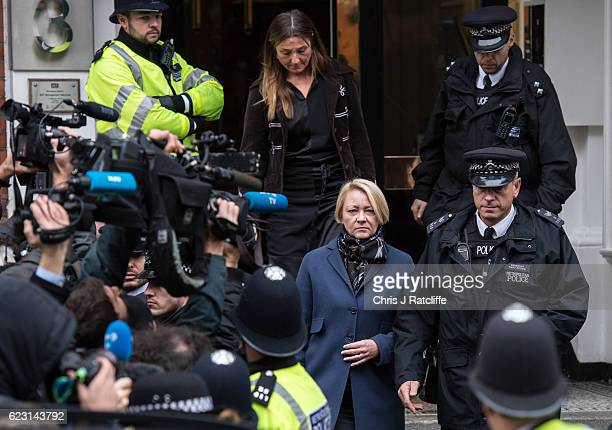 Sweedish chief prosecutor Ingrid Isgren leaves the Embassy of Ecuador after questioning Wikileaks founder Julian Assange on November 14 2016 in...