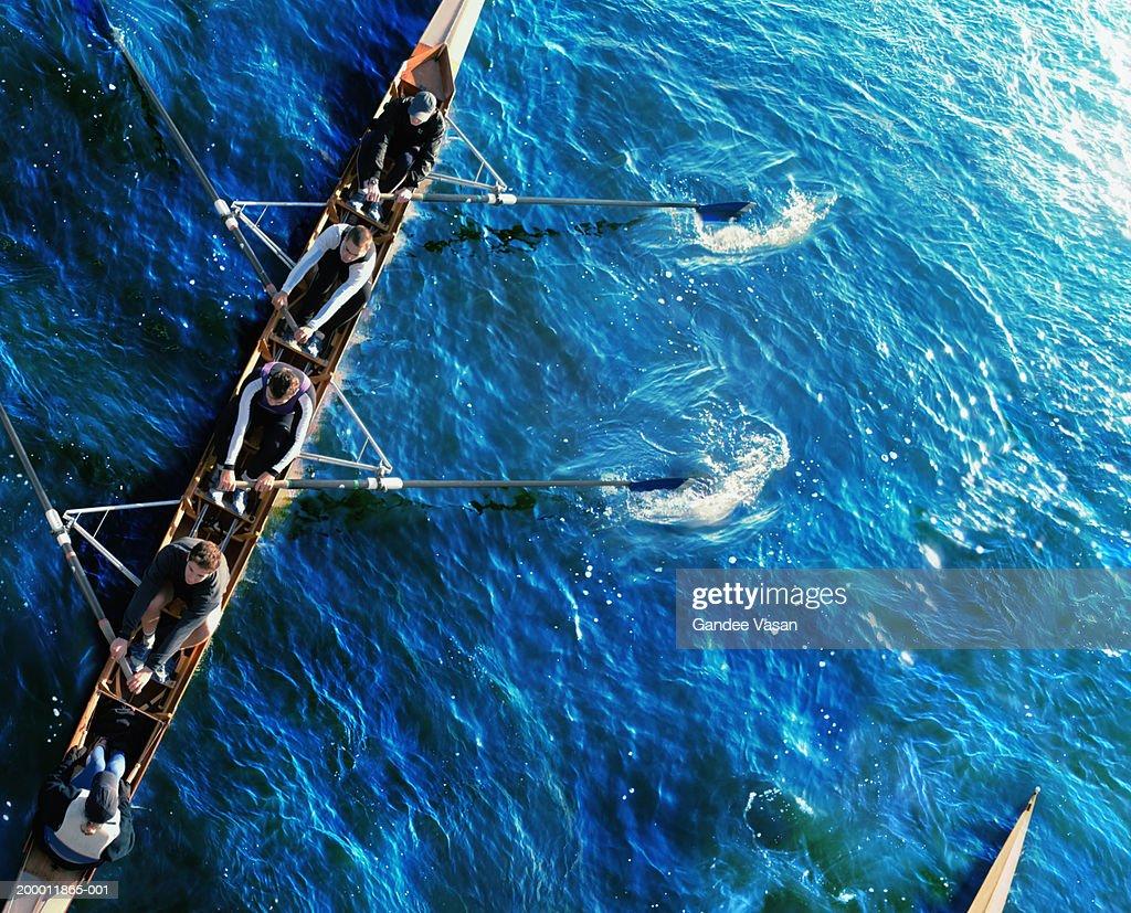 Sweep rowing crew, overhead view : Stock Photo